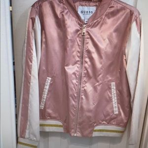Guess rose pink satin bomber jacket